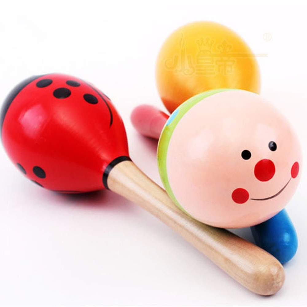 Symbol Of The Brand Colorful Small Maracas Wooden Hammer Cartoon Sand Ball Knock Wooden Bell Baby Educational Toys Home