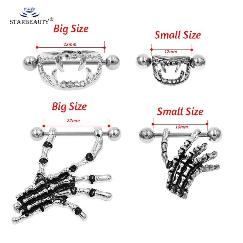 2 Pairs Steel Punk Gothic Skull Teeth Piercing Nipple Shield Ring 14G Bar
