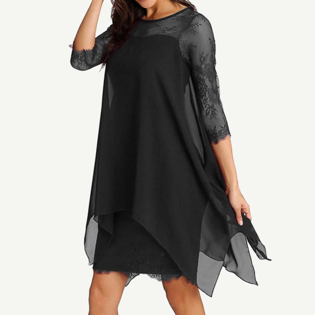 Женское Новое Модное шифоновое платье с рукавом три четверти, кружевное платье большого размера, S-5XL Женское Платье Vestidos De Fiesta Robe Femme