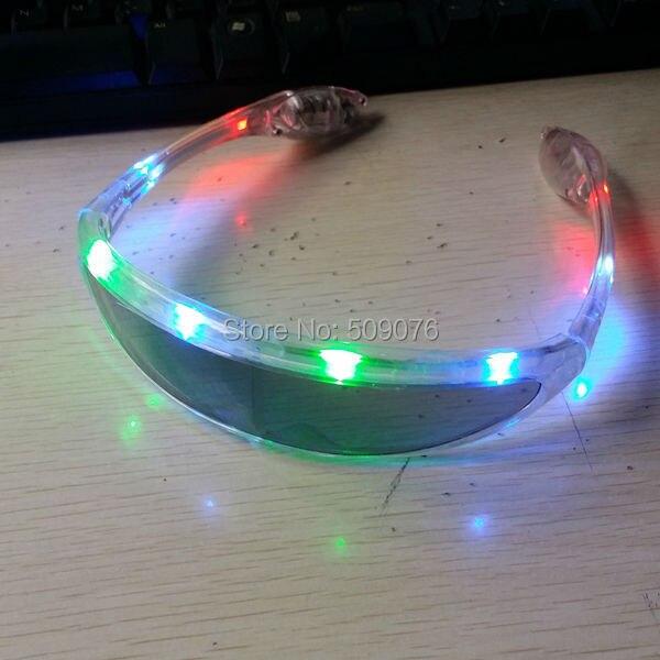 2361dcaed0 Free shipping 2pcs lot transparent LED Flashing Light Up Eyeglasses space  glasses for DJ