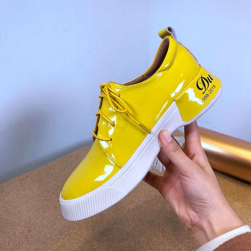amarillo Y Encaje Zapatos Primavera Blanco Conciso Tacones Plataforma Zapatilla Med Fiesta Deporte Casuales Superestrella La Vulcanizados De L2f5 Mujeres Cuero Las BRxW4wgAf