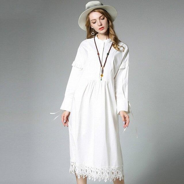 Cotton Midi Shirt Dress Women Long Sleeve Frills Oversize Dresses Plus Size  xl to 4xl 03e04df23b7f