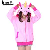 LUVCLS Long Sleeve Polar Fleece Cartoon Unicorn Hoodies Women Ladies Warm Autumn Hooded Cute Fashion Outwear