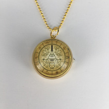 2017 New Design Rotatable Steampunk Drama Gravity Falls Mysteries Bill Cipher Wheel pocket watch necklace Handmade Jewelry