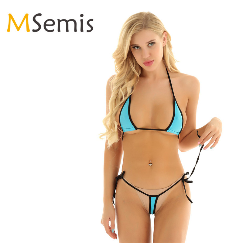 Women's  Micro Bikini Swimsuit Two Piece Swimwear Swimming Suit Cover Bra Top With G-String Briefs Separate Minimal Swimsuit