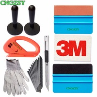 2pcs Magnet Holder 1pc Cutter 1 Pair Gloves 1pc Knife 10pcs Blades 1pc Suede Squeegee 1pc