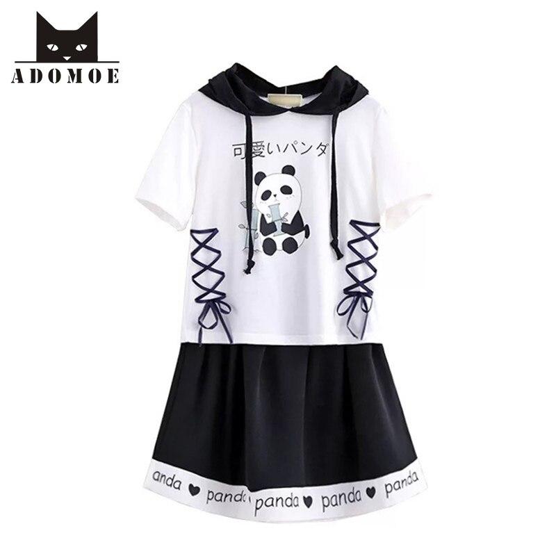 Summer Panda Pattern Cartoon Girl Soft Super Cute Cotton White Black Patchwork Women T-shirt Skirt suit Kawaii Japanese Cloth