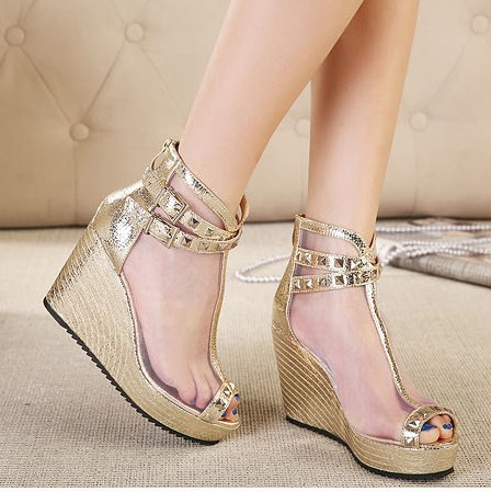c204f338d530 girls fashion rivets silver high heels 2014 ladies pumps platform shoes  woman ankle strap wedges sandals for women C97