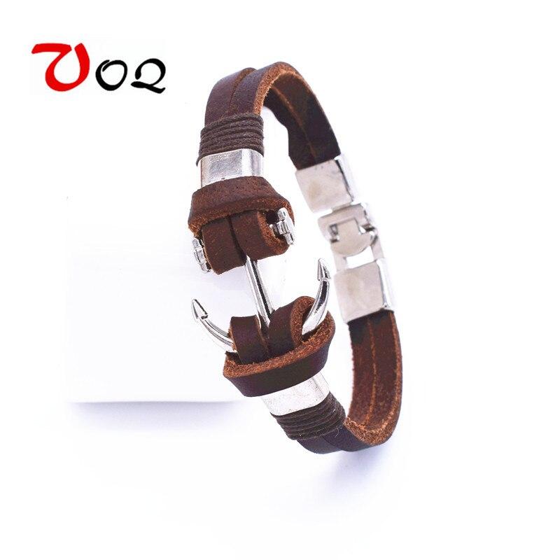 Wholesale Pirate Style Anchor Bracelets Men Jewelry Cuff Braided Wrap Genuine Leather Bracelet & Bangles