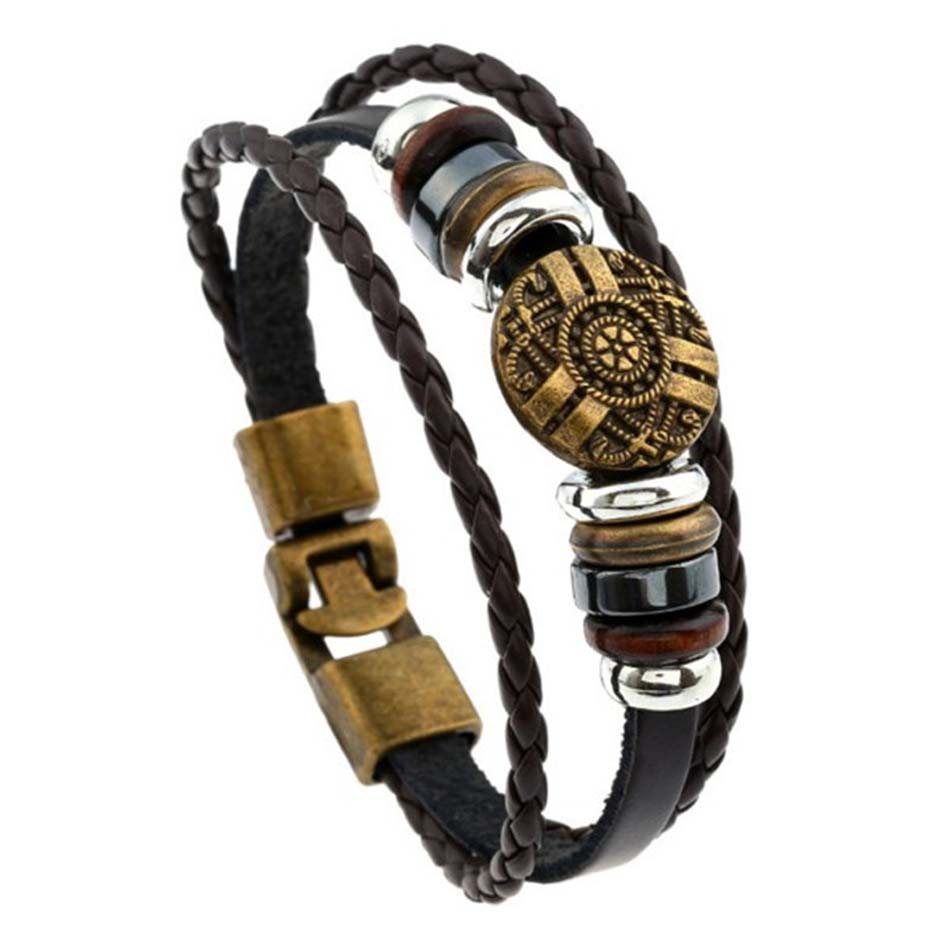 Genuine Leather Bracelets Charm Women Mens Jewelry Vintage Male Accessories  Braided Boho Guy Lady Birthday Gift Sgn1056