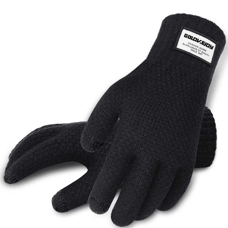 Image result for Winter Men Knitted Gloves Touch Screen High Quality Male Mitten Thicken Warm Wool Cashmere Solid Men Business Gloves Autumn