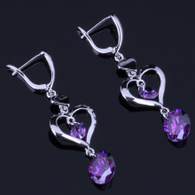 Sparkling Heart Shaped Round Purple Cubic Zirconia 925 Sterling Silver Drop Dangle Earrings For Women V0827