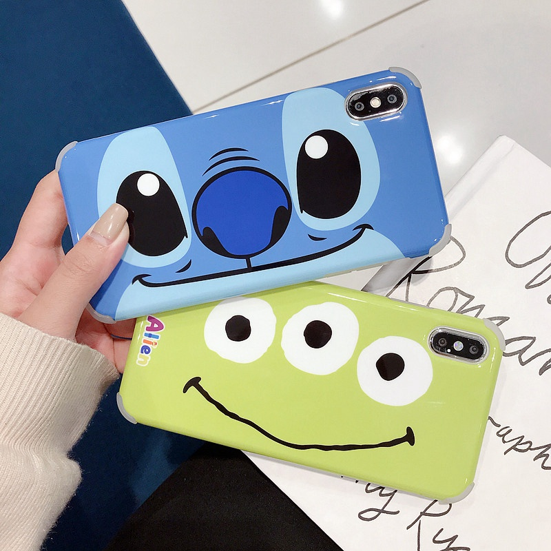 Cartoon four corner shatter resistant glossy mobile phone case for IPhone 7 X 10 8 6 6s Plus 7plus 8plus XR XS MAX phone cases in Fitted Cases from Cellphones Telecommunications