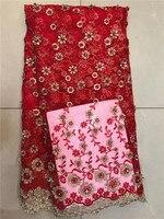 Rojo de encaje Francés últimas 2017 de la alta calidad 3D apliques de encaje de flores de tela para el blanco de novia con cuentas de encaje de tela para el vestido