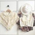 Babys Tassel Knit Cape Fashion Coat Toddle Cute Spring Scarf Coats Kids Outwear Belt Novelty Clothing