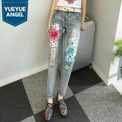 Folk Stil Chic Blumen Verschönert Denim Hosen Kostüm Für Frauen Ripped Punk Retro Regelmäßige Hosen Jeans Herbst Winter Kleidung