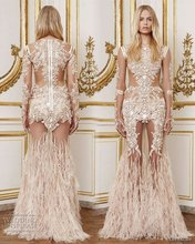 Luxury Long sleeves Abendkleider Mit Federn sheer perlen perlen prom kleider abendkleid vestido de festa