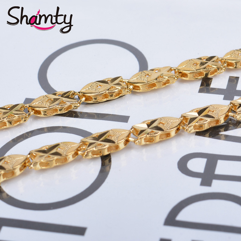 Shamty NEW Charm Chain Pure Gold Color Jewelry Men Chain Jewelry Necklace Chain Free shipping L12 Top quality