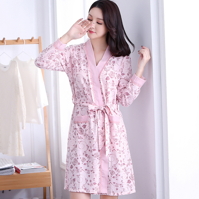 c547a27091b4 Cotton Robes For Women Spring Autumn Long Sleeve Bathrobes Cute Girls  Floral Kimono Bath Robe Female