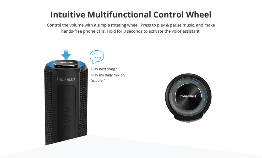 Tronsmart T6 Plus Bluetooth Speaker 40W Portable Speaker Deep Bass Soundbar with IPX6 Waterproof, Power Bank Function SoundPulse02