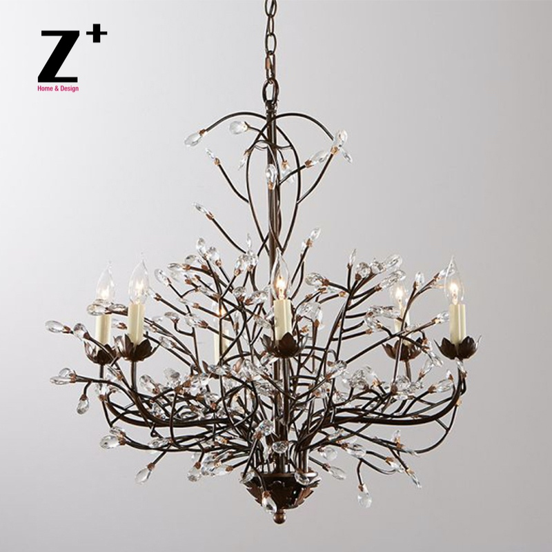 Tree Branch Chandelier 6 Arm Aged Brass Finish Country Style Iron