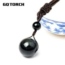 Natural Stone Black Obsidian Rainbow Eye Beads Ball Pendant Transfer Lucky Love Crystal Jewelry With Free Rope For Women and Men