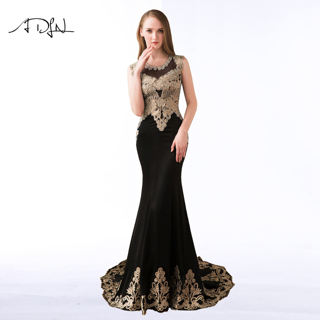ADLN  Luxury Black Evening Dresses Sexy Scoop Embroidery High Quality Long Formal Party Dress  Longo