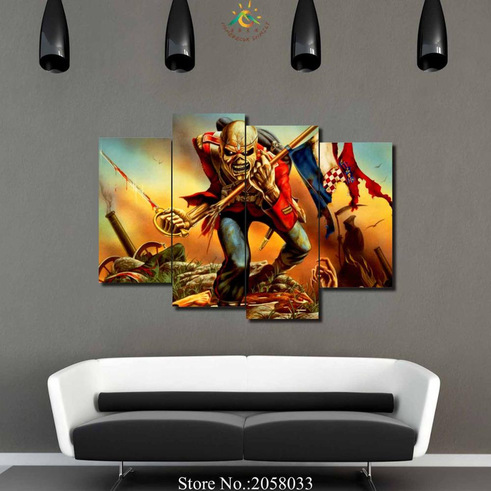 online get cheap iron maiden art aliexpress com alibaba group 4 pieces set music iron maiden wall art paintings picture print on canvas for home decoration wall art picture for living room