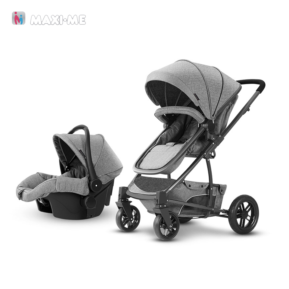 Newborn 2 3 in 1 High Views Pram Baby Stroller Foldable Carriage Travel System with Car Seat carrinho de bebe 2 3 em 1 stroller car seat newborn pram 3 wheels baby stroller 3 in 1 prams pushchair pram stroller travel system free shipping