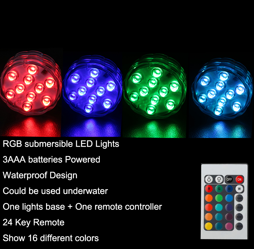 50pcs RGB 10 Led Submersible Light Battery Operated IP68 Waterproof - Pencahayaan perayaan - Foto 3
