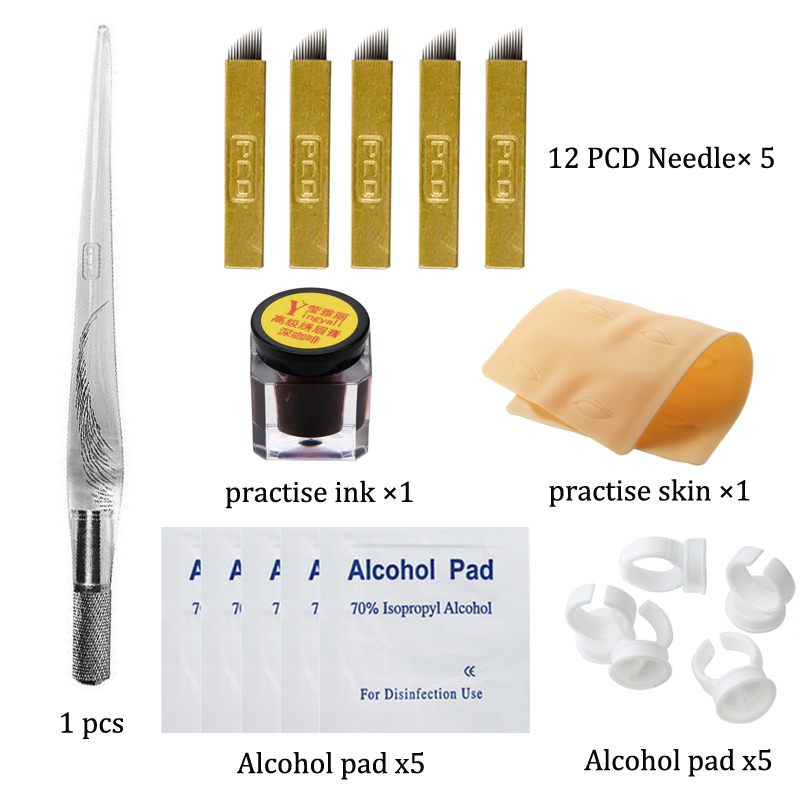 Permanent Makeup Tattoo Accessories Microblading Eyebrow Tattoo Kit Manual Pen Practice Pigment Practice Skin Ring 12 pin Needle
