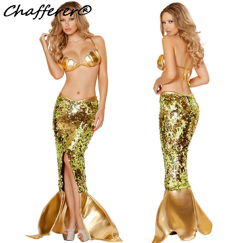 2017 New Gold Flash Sequins Split Mermaid Tail Dress Halloween Costume For Women Sexy Game Uniforms Party Stage Costume 50132