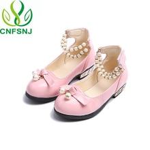 CNFSNJ/Новинка г.; Брендовые вечерние туфли из искусственной лакированной кожи для девочек; свадебные туфли для больших детей с ремешком на лодыжке, жемчугом, бисером и подвеской; обувь принцессы