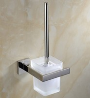 Free Shipping SUS 304 Stinless Steel Mirror Surface Toilet Brush Holder Solid Brass Construction Base Frosted