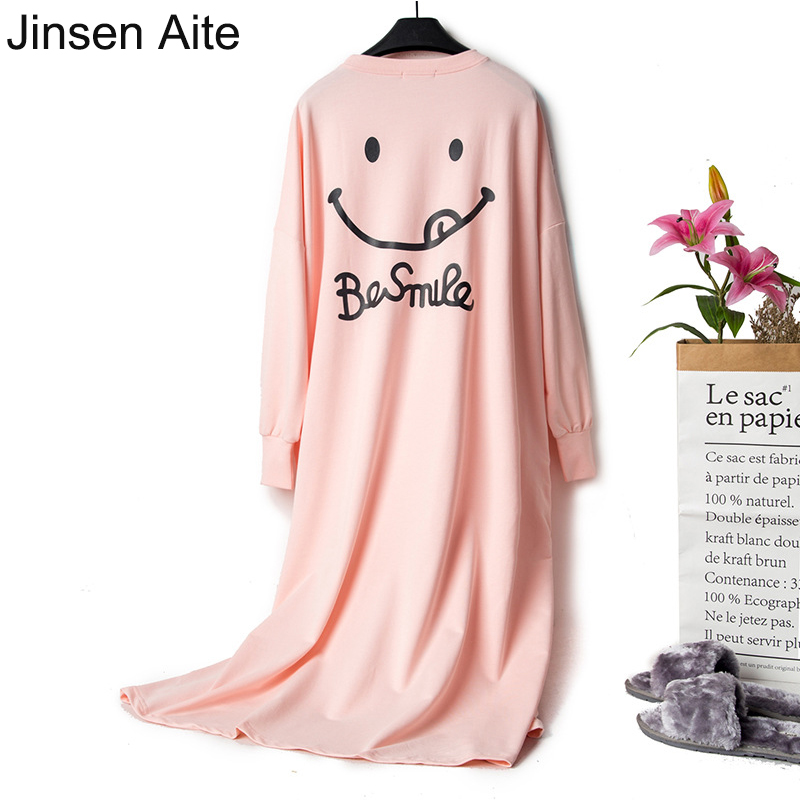 Jinsen Aite Women Night Dress Lovely Cartoon Spring   Nightgown   Long-sleeve Cotton Loose Large Size   Sleepshirt   Home Clothes JS776