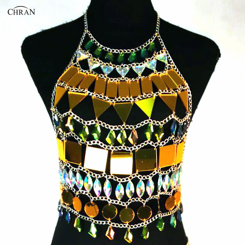 Chran Mirror Perspex EDC Outfit Irridescent Disco Necklace font b Sexy b font Rave Bra Costume