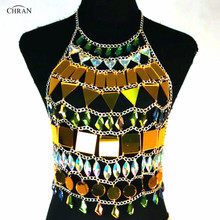 Chran Mirror Perspex EDC Outfit Irridescent Disco Necklace Sexy Rave Bra Costume Body wear Chain Crop Tops Party Jewelry CRM842