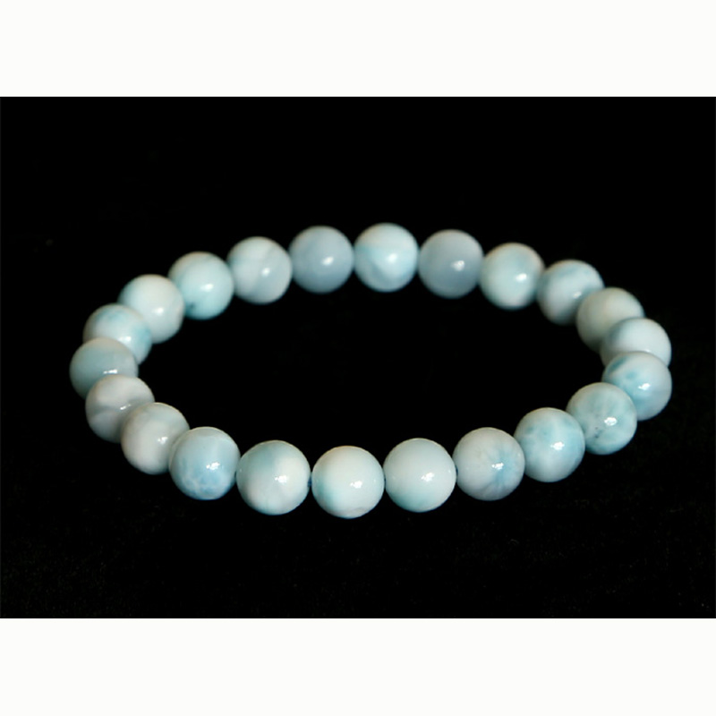 Discount Wholesale High Quality Natural Genuine Blue Larimar Stretch Bracelet Round Jewelry beads 8mm 03061 недорого