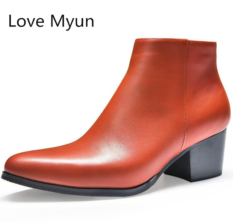 Autumn winter mens high heels leather boots pointed toe zip inside plush warm ankle boots height