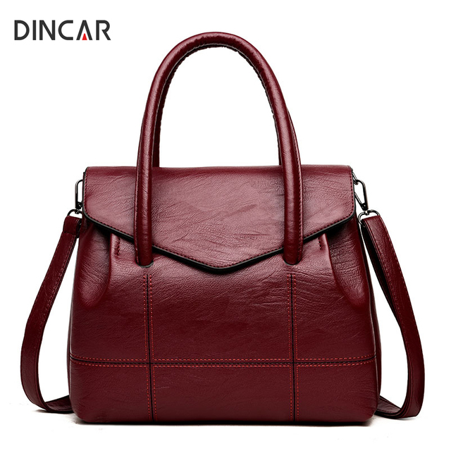 fa236ec90a90 DINCAR Women Lather Handbags Famous Brand Women Bag Soft Pu Leather  Shoulder Bag Large Tote Bags For Women Crossbody Bag Plaid