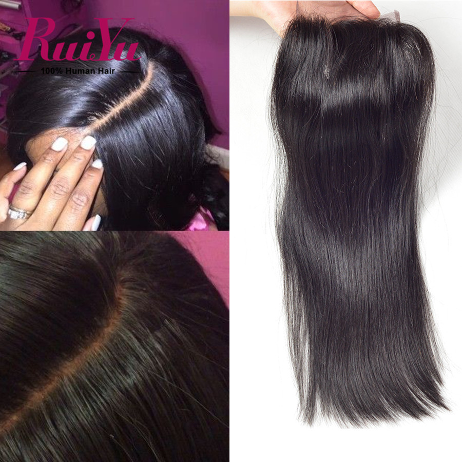 "Brazilian Virgin Hair Straight Closure Brazilian Lace Closure 8""-24""Human Hair Closure 4x4 Middle/Free/Three Part Closures"