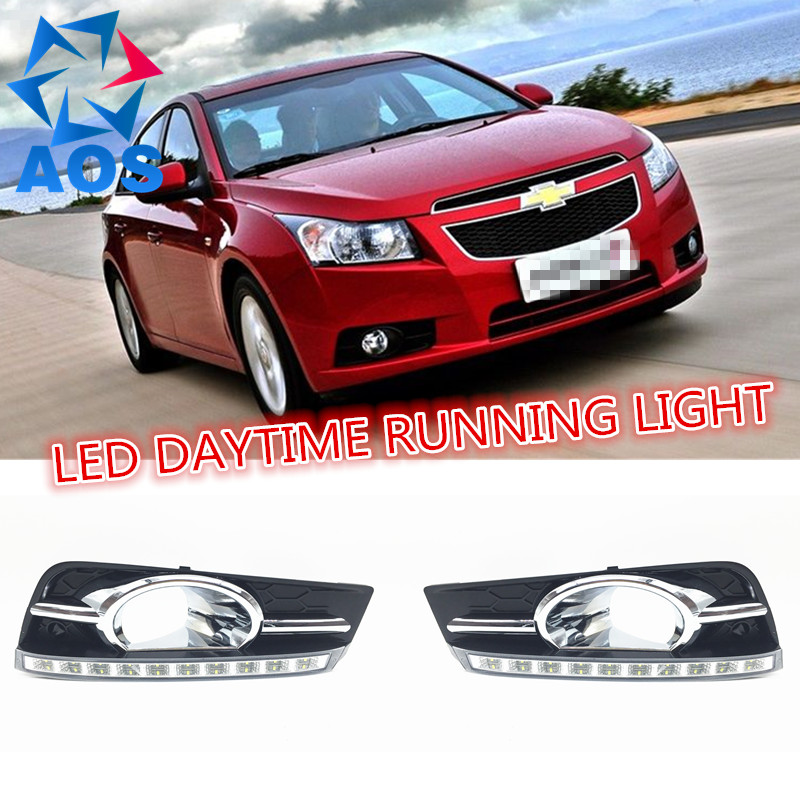 2PCs/set car LED DRL light dimming daylight led drl Daytime Running Light for Chevrolet Cruze 2009 2010 2011 2012 2013 fog lamp motorfansclub led daytime running light drl for hyundai accent car driving fog lamp drl 2011 2012 6000k high brightness
