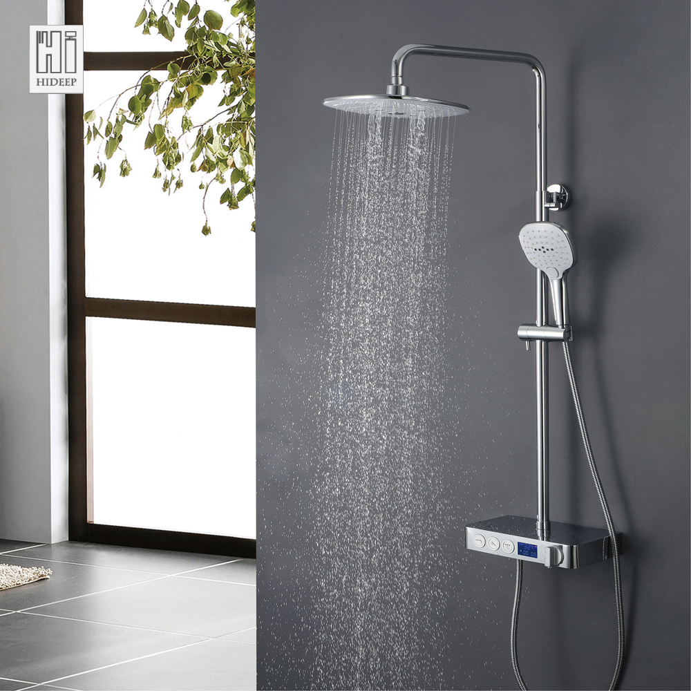 HIDEEP Brass Shower Faucets Body Sprays Heads Water Saving Shower Family Bathroom Wall Mounted 1.5m Stainess Steel Shower Hose