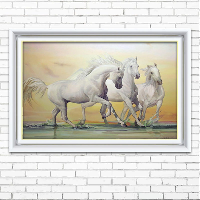 White horse DIY 5D Full DIY resin Round Diamond Painting square Mosaics Cross Stitch Embroidery Kit Stones Painting Craft