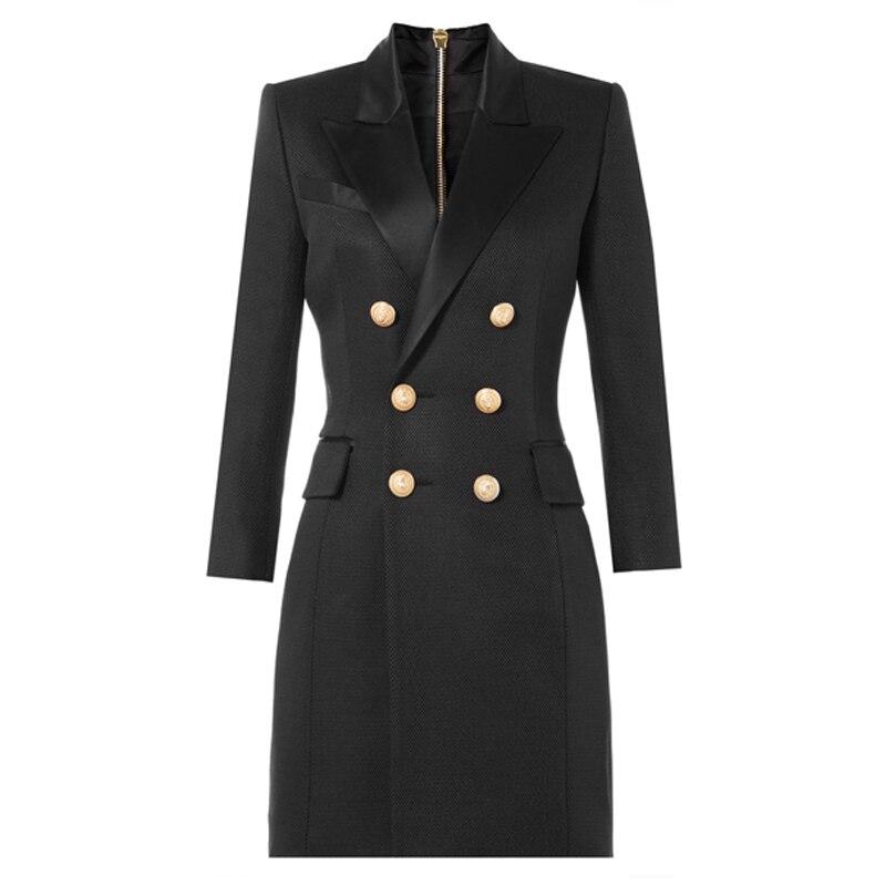 Women Blazers 2018 Autumn Long Blazer Long Sleeve Office Blazer jacket Outwear Golden Double Breasted Blazer Jacket Suit