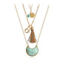 Moon Stone Lock Colorful Tassels Pendant Necklace 3 Layer Beads Choker Necklaces For Women Girl Vintage Boho Ethnic Jewelry(China)