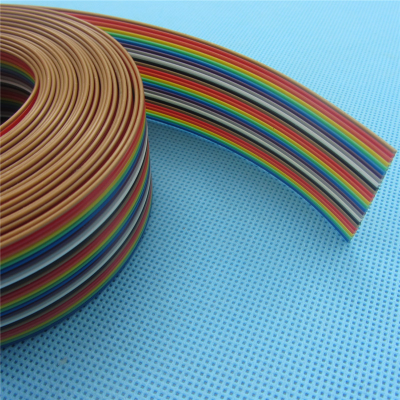 1meters/lot ribbon cable 26 WAY Flat Color Rainbow Ribbon Cable wire ...
