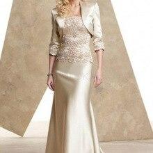 Элегантное платье-Русалка для невесты, атласное кружевное платье с жакетом, Длинные свадебные платья, платья для мам на свадьбу