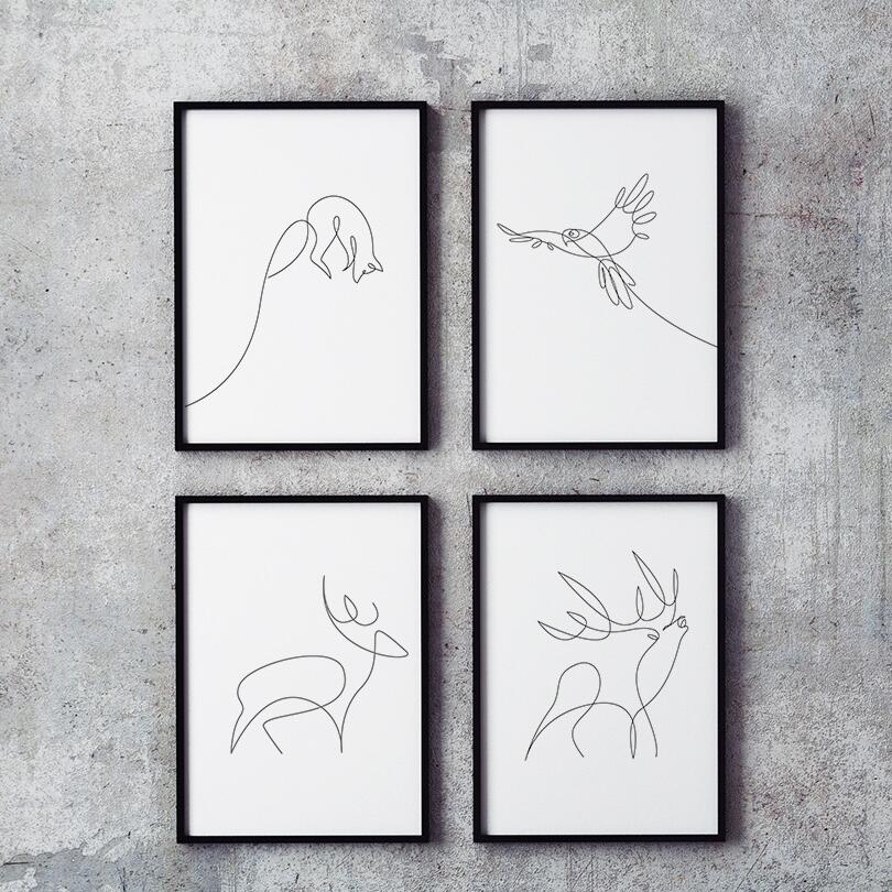 Us 3 5 Modern Minimalist Abstract Line Drawing A4 Canvas Art Prints Animal Fox Shape Wall Picture Home Decor Painting No Frame 289 In Painting