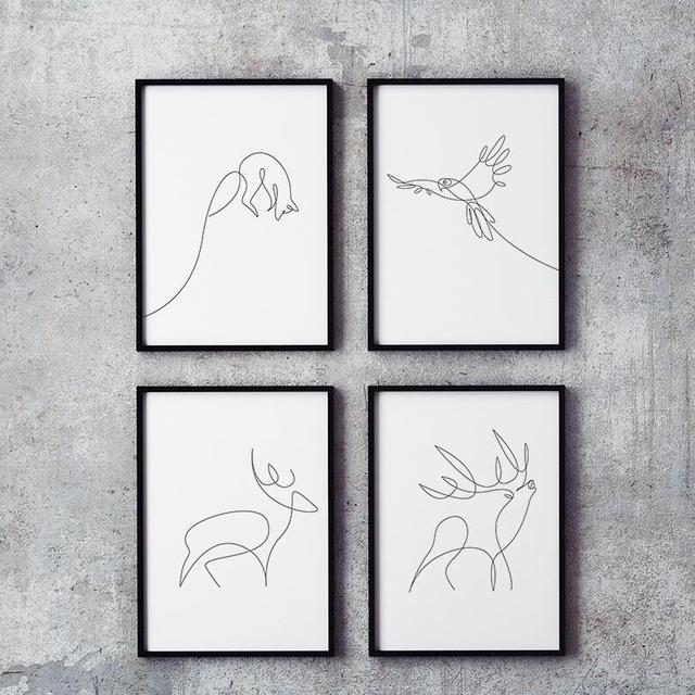 Modern Minimalist Abstract line drawing A4 Canvas Art Prints Animal ...